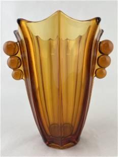 Art Deco Amber Glass Vase