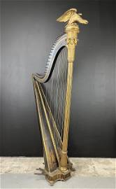 Magnificent Sebastien Erard Japanned Floor Harp