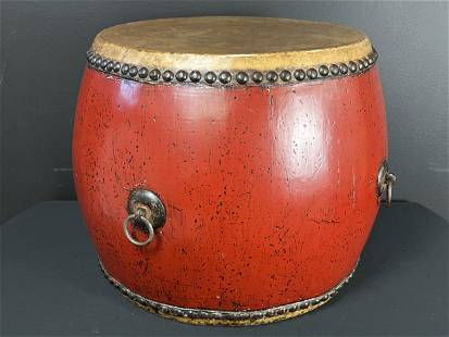 Chinese 19th C. Double Sided Buddhist Temple Drum