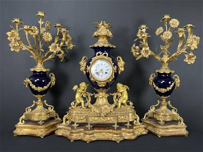 19th C. Japy Freres Gilt Bronze Clock and