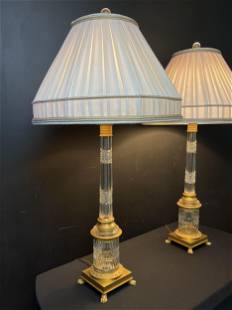 Pair Austrian Cut Crystal Gilt Bonze Table Lamps