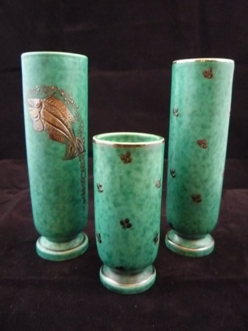Lot of 3 Gustavsberg Argenta Pottery Vases