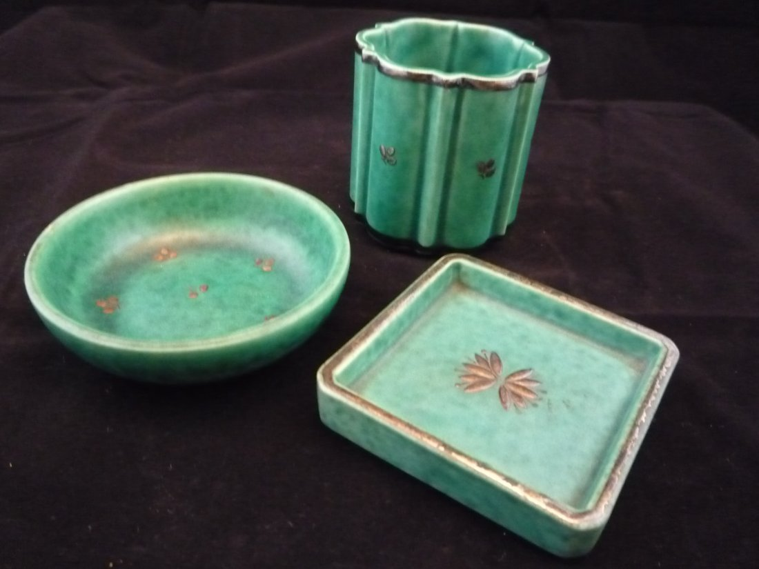 Lot of 3 Gustavsberg Argenta Pottery