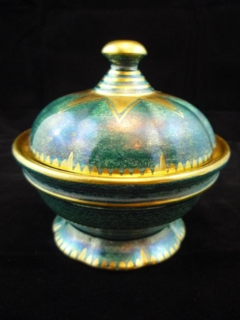 Gustavsberg Pottery Lidded Footed Bowl