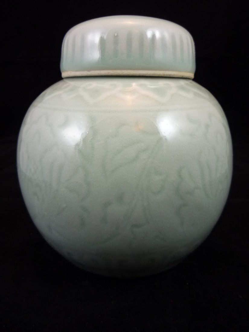 19th C Chinese Glazed Celadon Porcelain Lidded Vase