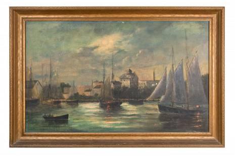 Moonlit Harbor Scene (20th Century)