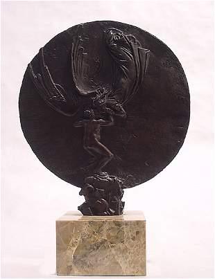 6: Lucchesi Italian Bronze Angel Sculpture