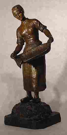 8: Kossowski Polish Girl Bronze Sculpture