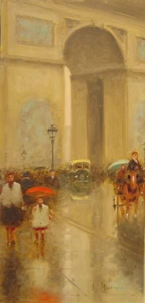 10: Gisson French Painting Paris L'Arc de Triomphe