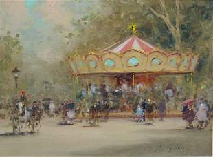 11: Gisson French American Painting Paris Carousel