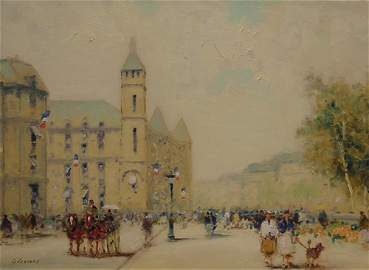 12: Gisson French American Painting Paris Flags