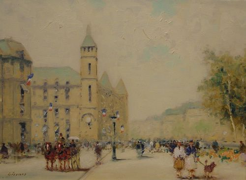 Gisson French American Painting Paris Flags
