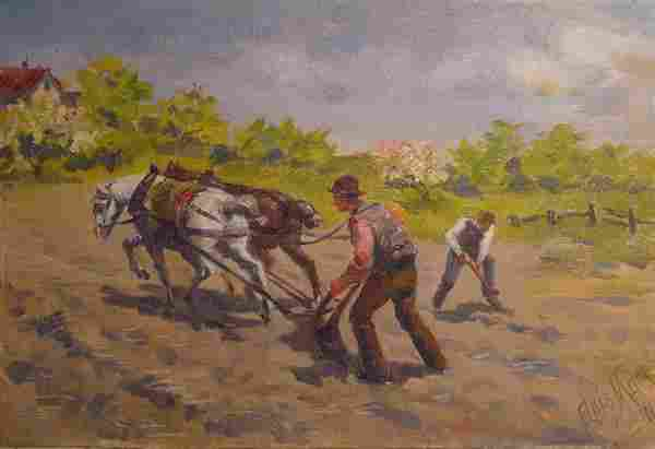 Mora American Painting Farmer 19th Century