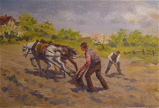 20: Mora American Painting Farmer 19th Century
