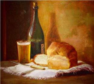 24: Rogers American Painting Still-life Bread Beer
