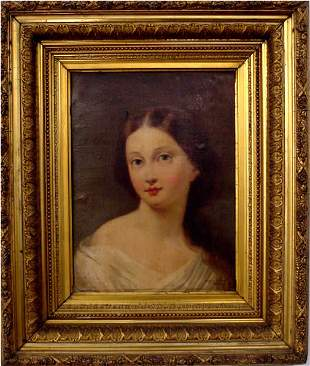Girard French Girl Painting Gilded Frame 19th
