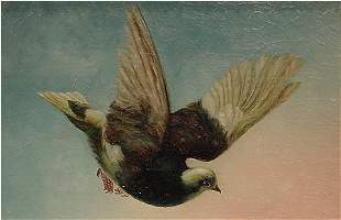 American Painting Victorian Pigeon 19th Century