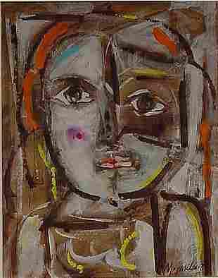 Gonzalez Cuban Mid-century Modern Painting Portrait