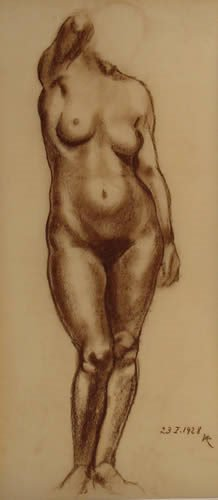 158: European Drawing Nude Signed