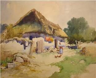 European Painting Chickens Farm House