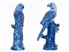 Pair of Porcelain Parrots China 19th Century