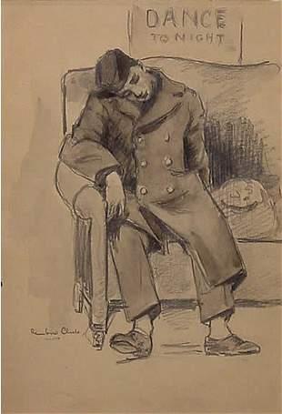15: Woolf American W.W. II Illustration Signed Censor