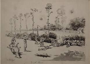 16: Woolf American World War II Illustration Signed ETO