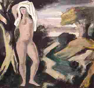 174: French Painting Nude Modern Deco Signed