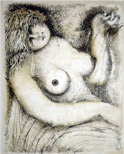 318: Italian Lithograph Female Nude