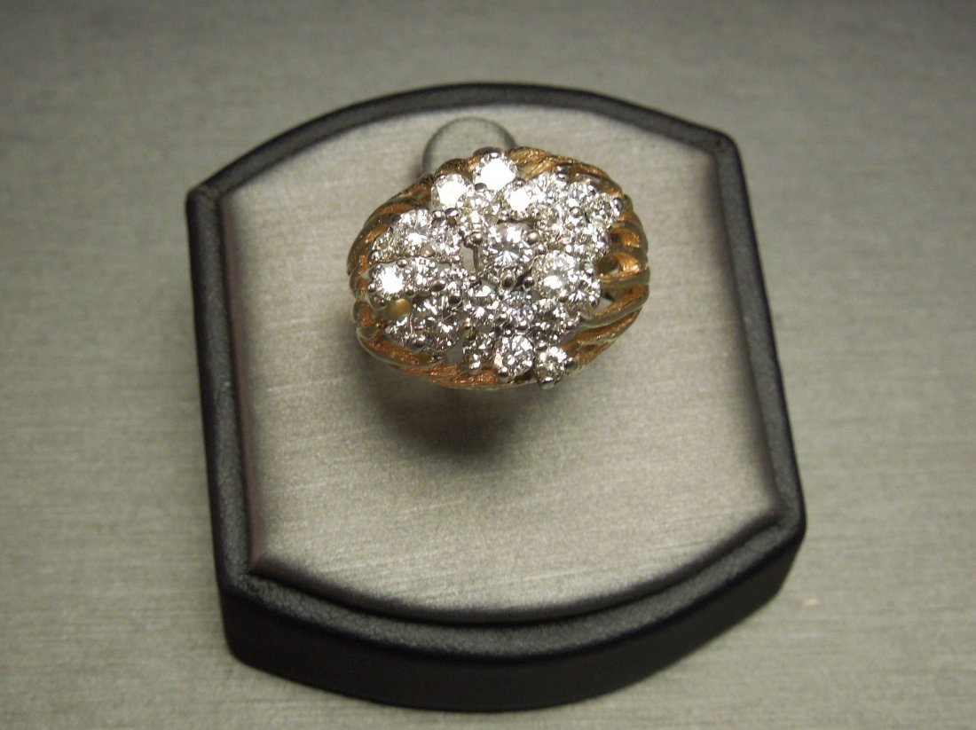 C 1970 14KT Pierced Flame Cluster Diamond Dome Ring