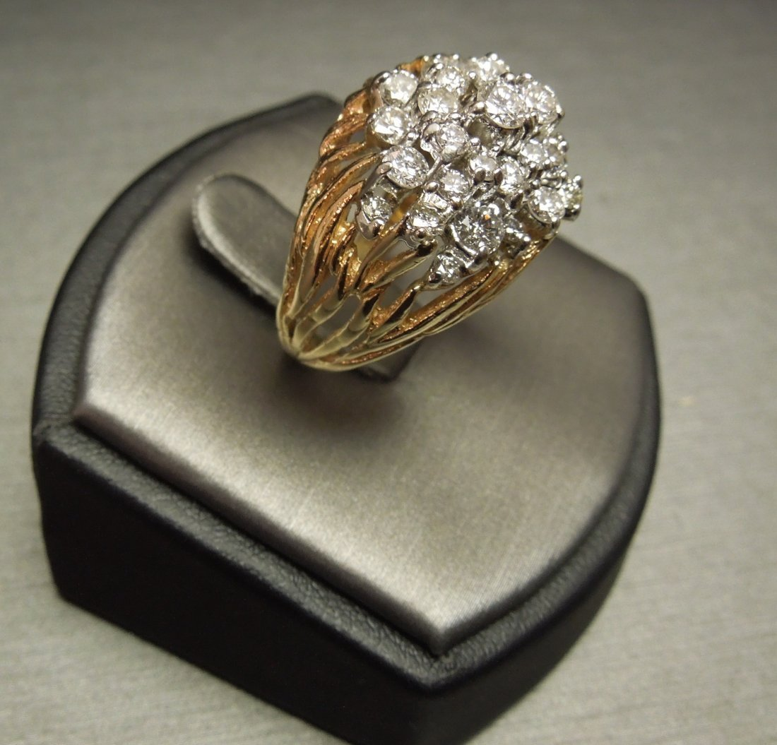 C 1970 14KT Pierced Flame Cluster Diamond Dome Ring - 2