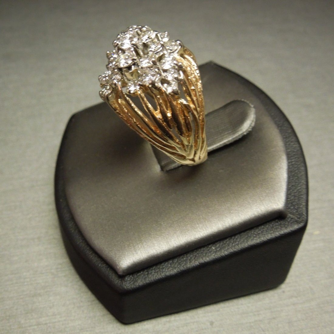 C 1970 14KT Pierced Flame Cluster Diamond Dome Ring - 4