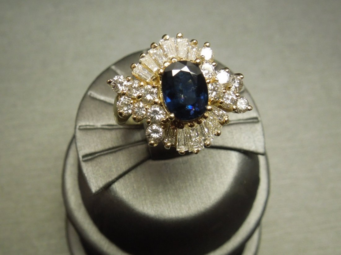 C 1950 14KT 4.50ct Sapphire & Diamond Cocktail Ring