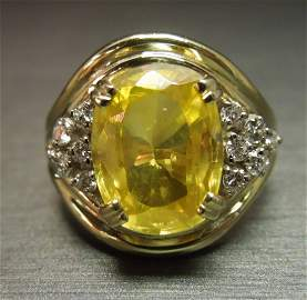 C 1960 Art Deco 18KT 10ct Canary Sapphire & Dia Ring
