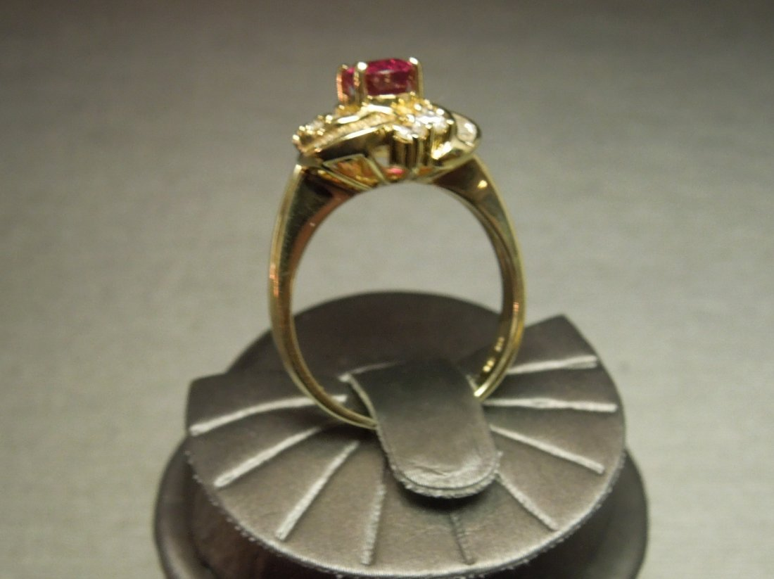 C 1980 14KT Gold 3ct Ruby & Diamond Cocktail Ring - 3