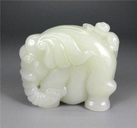 Chinese white jade carved Elephant.