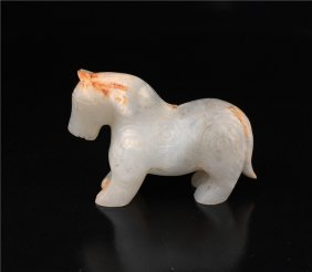 Chinese antique white jade carved Horse,