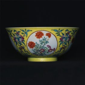 Blue and white & famille rose porcelain bowl of Qing