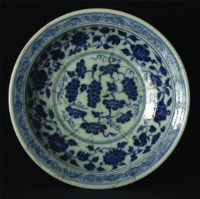Blue and white porcelain plate.