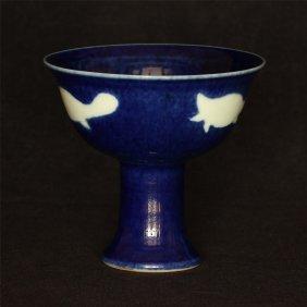 Blue glaze porcelain chalice of Ming Dynasty XuanDe