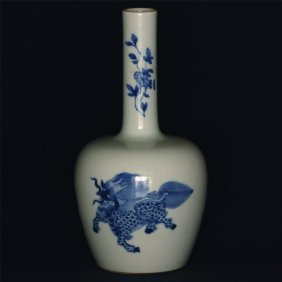 Blue and white porcelain vase.