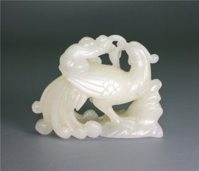 Chinese white jade carved a child riding phoenix