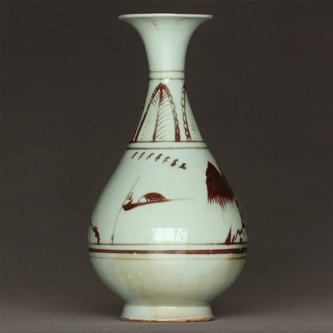 Underglaze Red Porcelain Vase Yuan Dynasty.