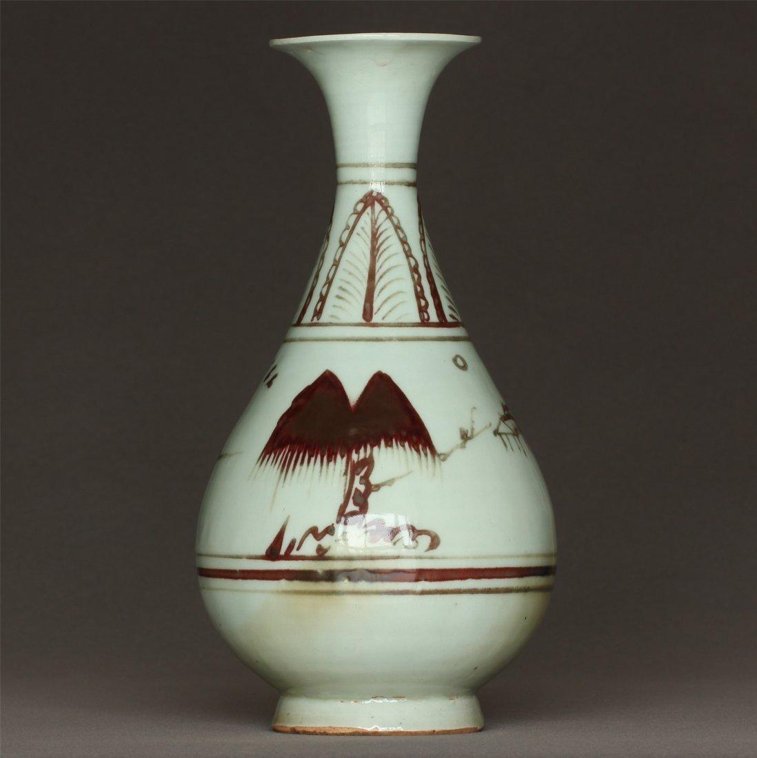Underglaze Red Porcelain Vase Yuan Dynasty. - 3