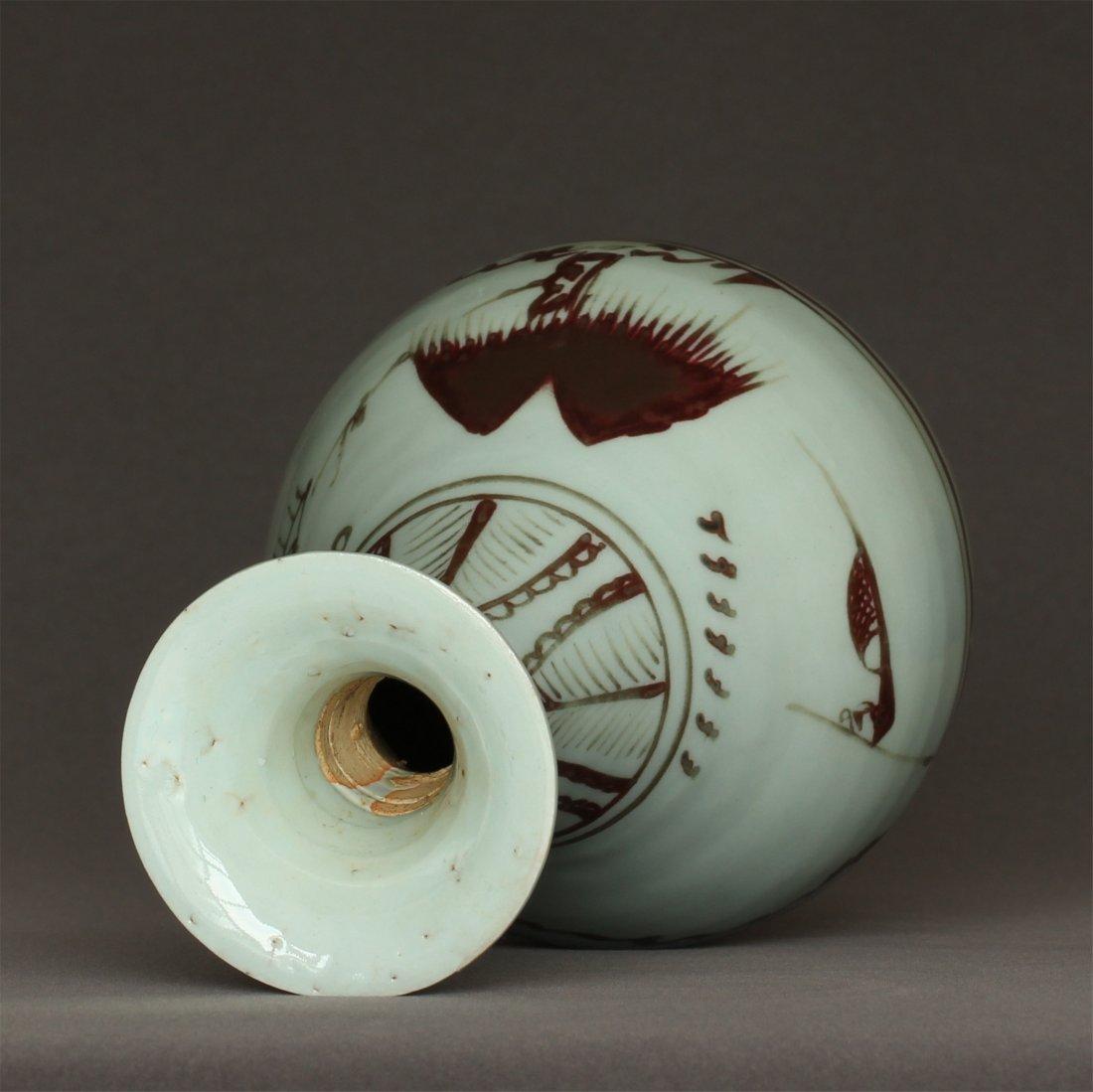 Underglaze Red Porcelain Vase Yuan Dynasty. - 9