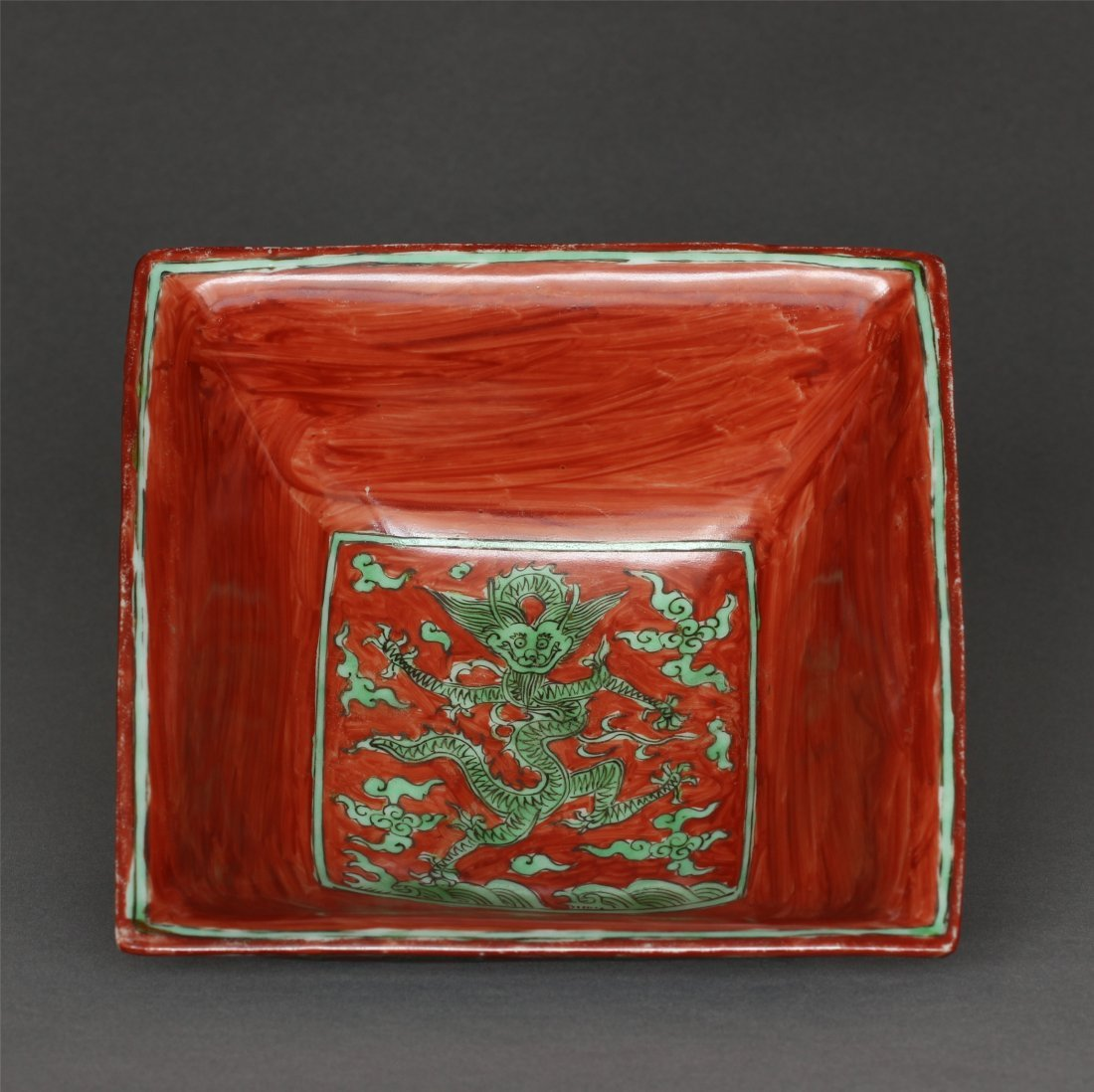 Red and green color porcelain square bowl of Ming - 7