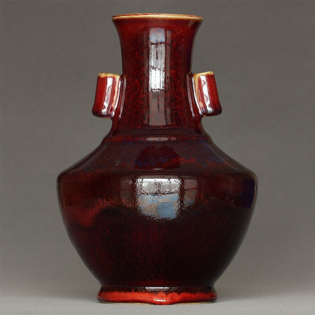 Red glaze porcelain vase of Qing Dynasty QianLong mark.