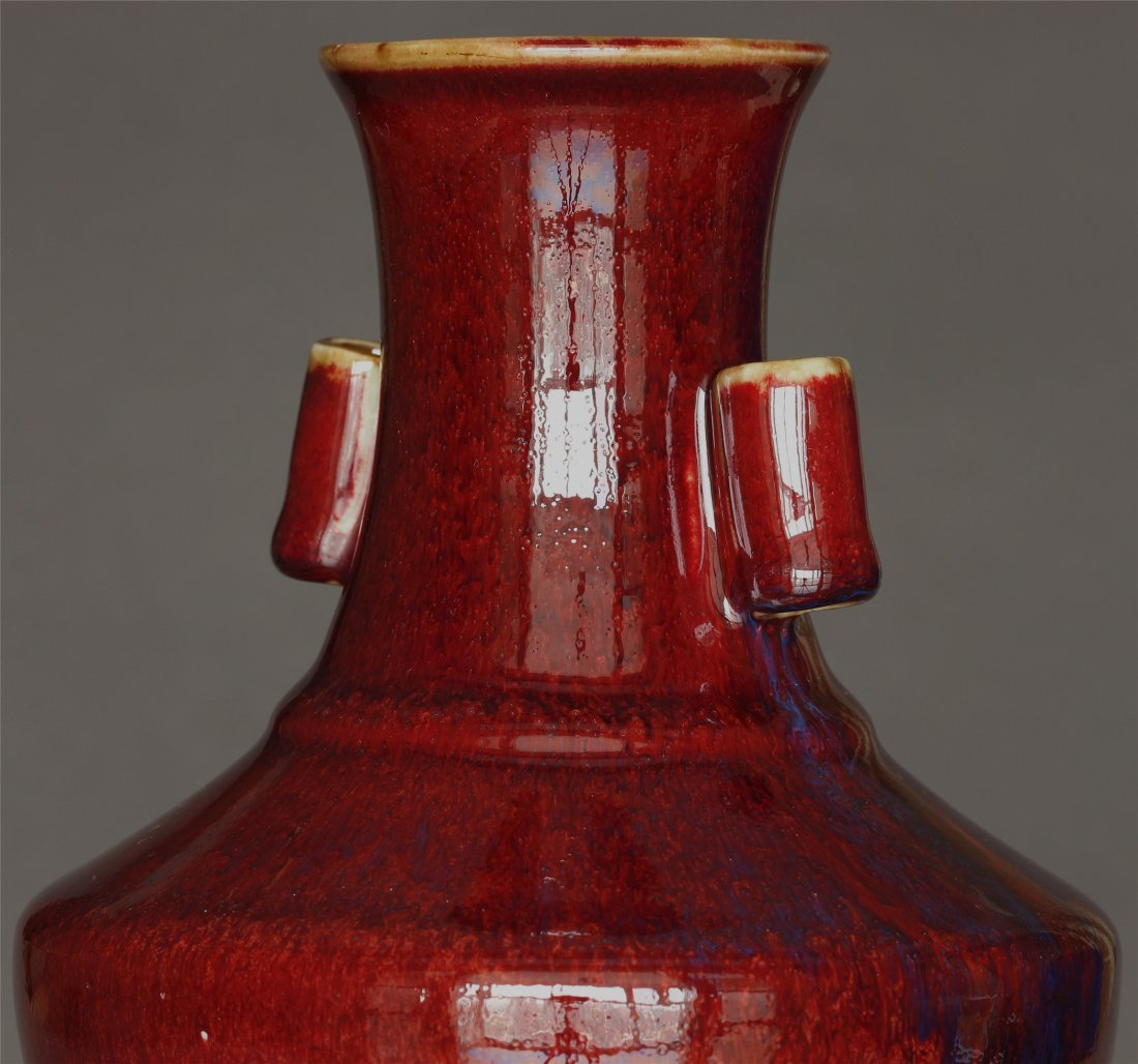 Red glaze porcelain vase of Qing Dynasty QianLong mark. - 6