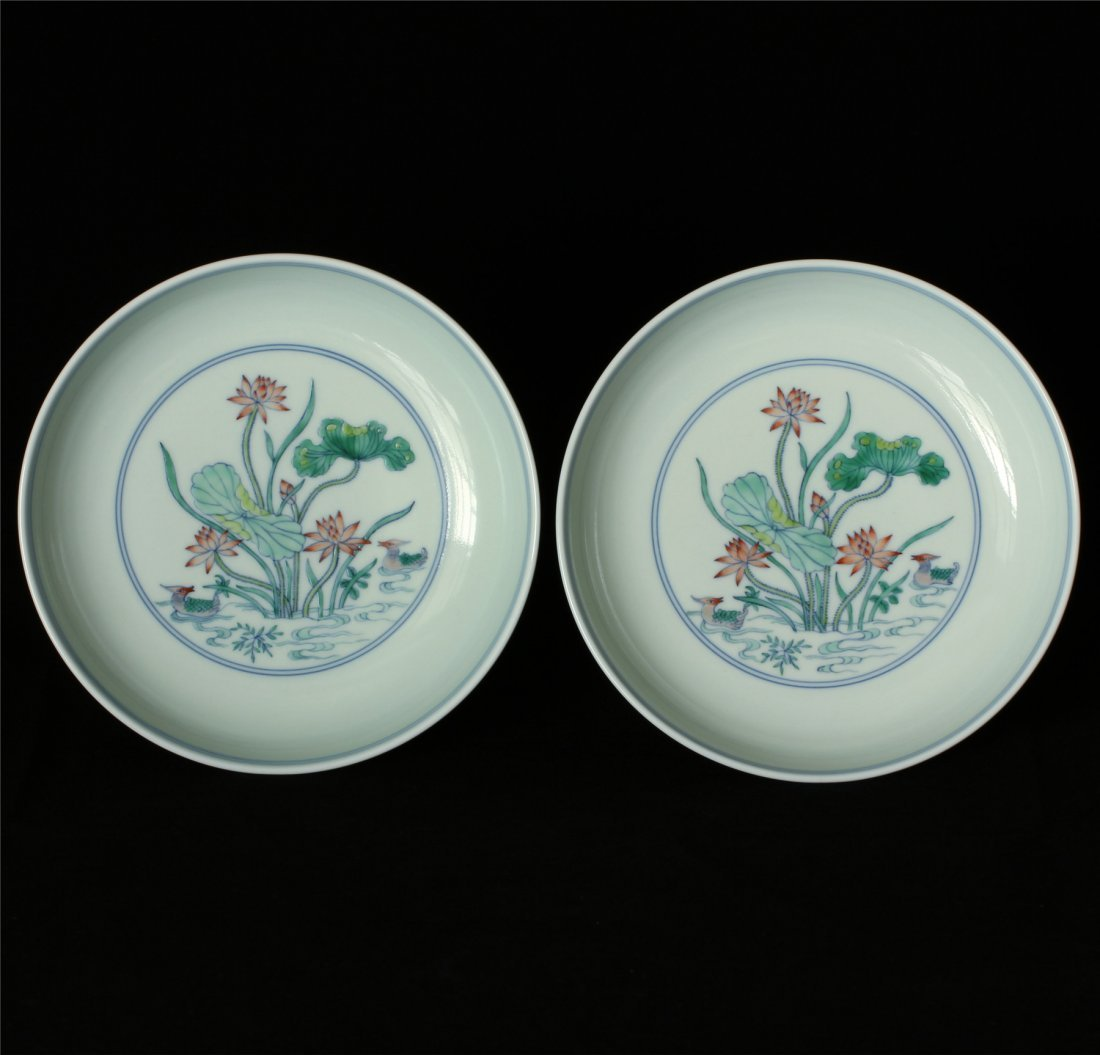 Pair Doucai porcelain plates of Qing Dynasty YongZheng