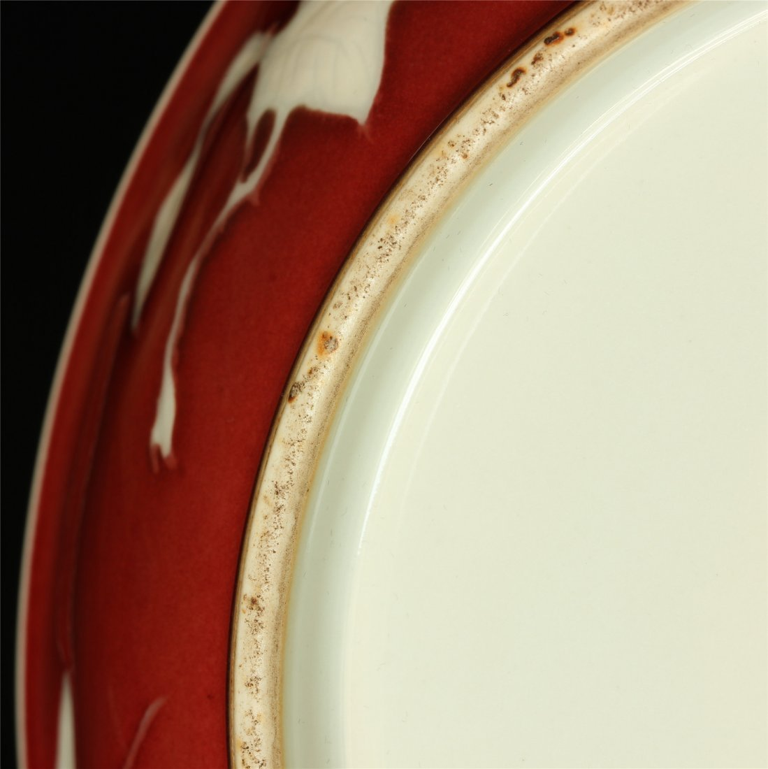 Red glaze porcelain plate of Ming Dynasty XuanDe mark. - 10